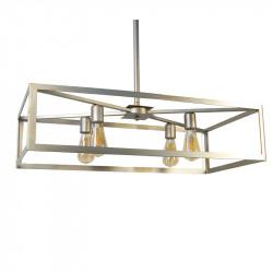 Lámpara de techo, armazón metálico rectangular en acabado champán, 4 luces, bombillas no incluidas.