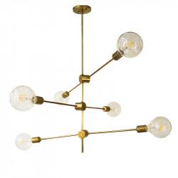 Lámpara de techo, armazón de latón en acabado satinado, 6 luces, bombillas no incluidas.