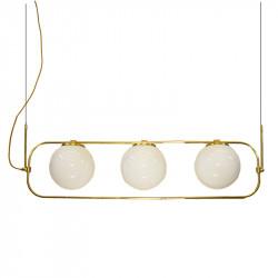 Lámpara de techo, estructura de latón en acabado satinado, 3 luces, con bolas de cristal Ø 20 cm, en acabado opal blanco.