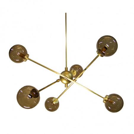Lámpara de techo, armazón de latón en acabado satinado, 6 luces, con bolas de cristal Ø 14 cm, en acabado fumé.