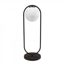 Lámpara de sobremesa, armazón metálico en acabado negro, 1 luz, con difusor en bola Ø 20 cm en acabado opal brillo.