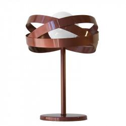 Lámpara de sobremesa, estructura metálica en acabado cobre, 1 luz, con difusor de vidrio soplado en bola Ø 20 cm.