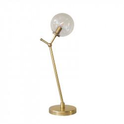 Lámpara de sobremesa retro, armazón de latón en acabado satinado, 1 luz, con difusor de vidrio soplado en bola transparente.
