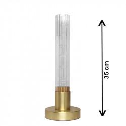 Lámpara de sobremesa, armazón de latón en acabado mate, 1 luz, con cristal translucido ↕ 32 cm, estriado.