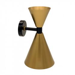 Aplique de pared retro, armazón metálico en acabado dorado, con elementos de latón en acabado negro, 2 luces