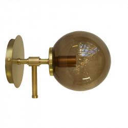 Aplique de pared, armazón de latón en acabado satinado, 1 luz, con difusor en bola Ø 14 cm, en vidrio soplado