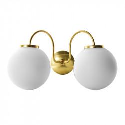 Aplique de pared, armazón metálico en acabado latón, con elementos de latón, 2 luces, con difusores en bola Ø 20 cm