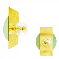 Aplique de pared, armazón metálico, disco en acabado verde, con rectángulo de latón en acabado satinado, 1 luz, con difusor