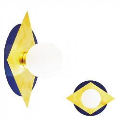 Aplique de pared, armazón metálico, con disco en acabado azul, más rombo de latón en acabado satinado, 1 luz