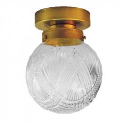 Punto de luz, armazón de latón en acabado satinado, 1 luz, con difusor de vidrio soplado transparente, con relieves.