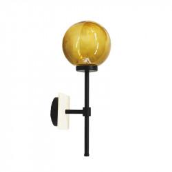 Aplique de pared, armazón metálico en acabado negro con elementos en acabado blanco, 1 luz, con difusor en bola