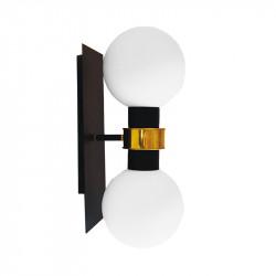 Aplique de pared, armazón metálico en acabado negro, con elementos de latón en acabado satinado, 2 luces.