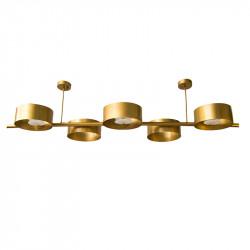 Lámpara de techo, armazón metálico en acabado dorado, 5 luces G9, con difusores metálicos en acabado dorado.