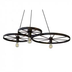 Lámpara de techo, estructura metálica en acabado óxido marrón, 3 luces, SIN bombillas.