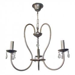 Lámpara de techo, de forja, armazón metálico en varios acabados, con elementos decorativos de cristal, 3 luces, con vela.