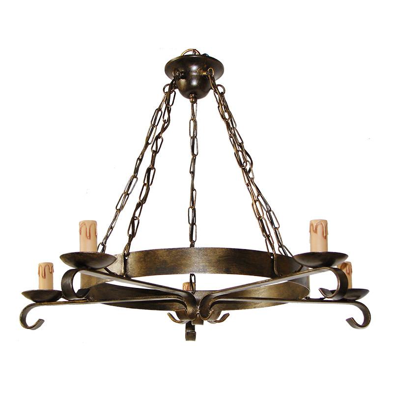 Lámpara de techo, de forja, armazón metálico en varios acabados, 5 luces, con vela.