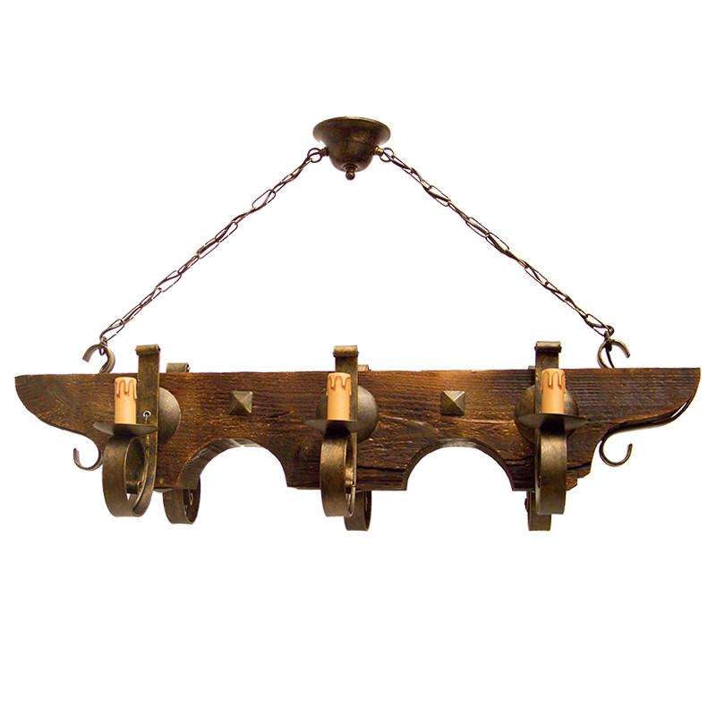 Lámpara de techo, armazón metálico en varios acabados, con madera, 6 luces, con vela.