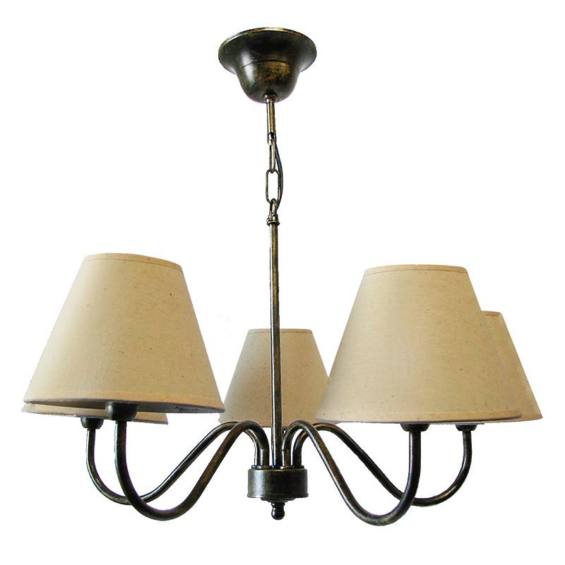 Lámpara de techo, de forja, armazón metálico en varios acabados, 4 luces, con pantalla cilíndrica de tela en acabado retorta.