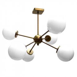 Lámpara de techo, estilo Retro Vintage, estructura metálica en varios acabados, 6 luces, con bolas de cristal