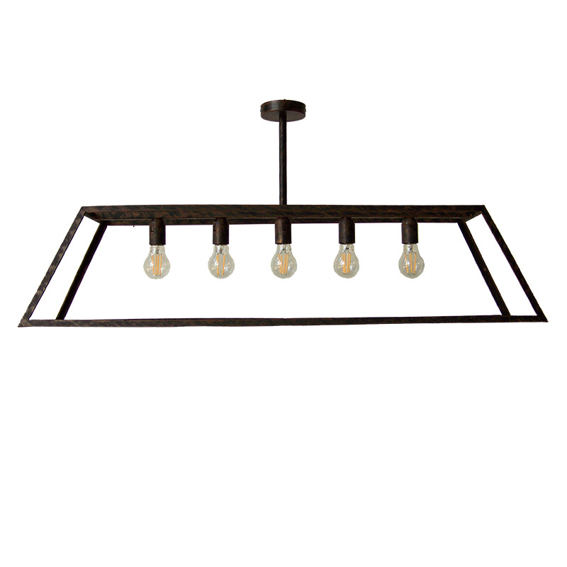 Lámpara de techo, de forja, estructura metálica en varios acabados, con forma rectangular, 5 luces.