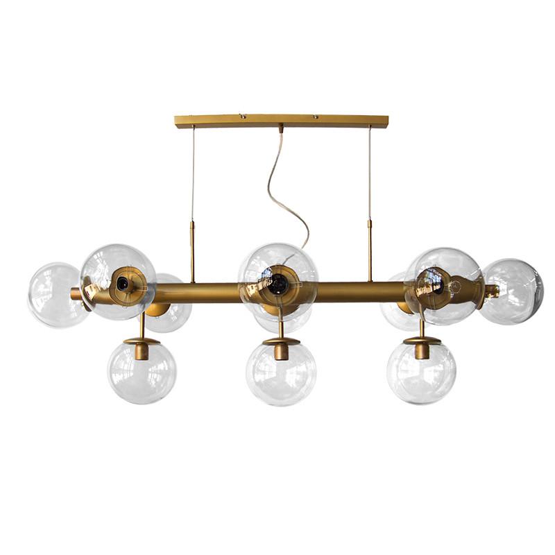 Lámpara de techo, estilo retro, estructura metálica en acabado dorado, 11 luces, con bolas de Ø 20 cm cristal transparente.