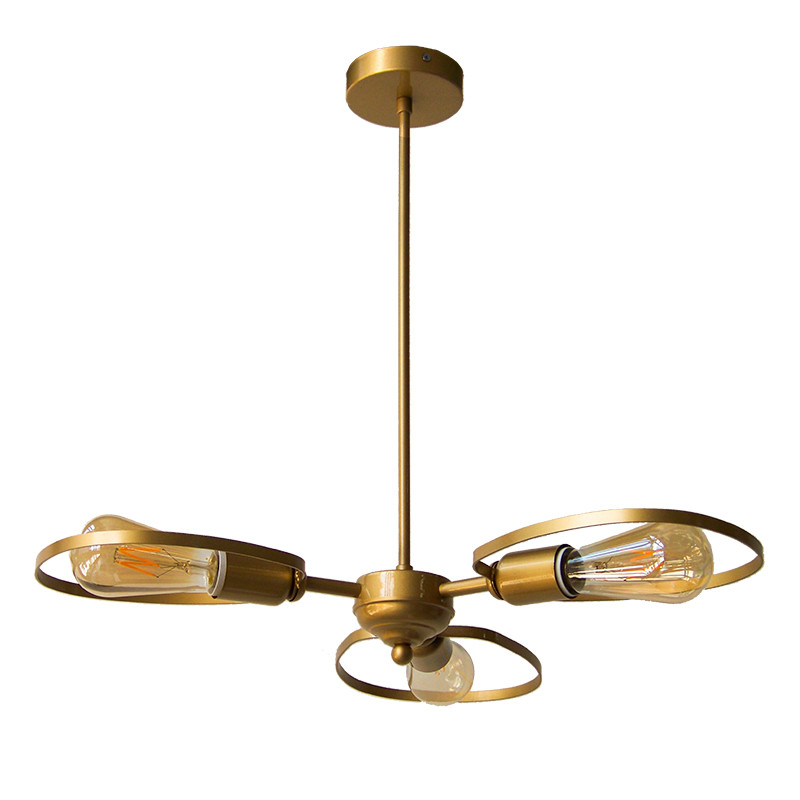 Lámpara de techo, armazón metálico en acabado dorado, 3 luces, SIN bombillas.