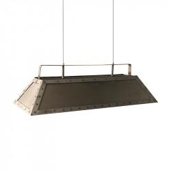 Lámpara de techo, rectangular, armazón metálico en varios acabados, 3 luces, regulable en altura con cables acerados.