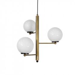 Lámpara de techo, armazón metálico en acabado dorado con elementos en negro, 3 luces, con bolas de cristal