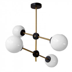 Lámpara de techo, armazón metálico en acabado dorado con elementos en negro, 4 luces, con bolas de cristal