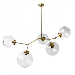 Lámpara de techo, armazón de latón en acabado satinado, 5 luces, con bolas de cristal transparentes de varias medidas.