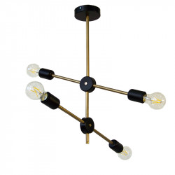 Lámpara de techo, armazón metálico en acabado dorado, con elementos en negro, 4 luces, con bombillas A60 4x5W 4x660lm 4.000K.