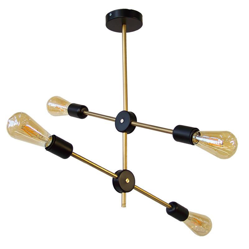 Lámpara de techo, armazón metálico en acabado dorado, con elementos en negro, 4 luces, con bombilla