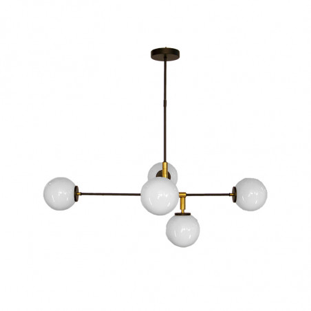 Lámpara de techo, armazón metálico en acabado negro, con elementos de latón en acabado satinado, 5 luces