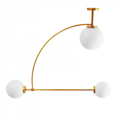 Lámpara de techo, armazón de latón en acabado satinado, 3 luces, con difusores de vidrio soplado en bola acabado mate