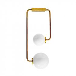 Lámpara de techo, armazón de latón en acabado satinado, 2 luces, con difusores de vidrio soplado en bola