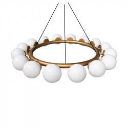 Lámpara de techo, armazón metálico en acabado dorado, 16 luces, con difusores de vidrio soplado en bola Ø 14 cm