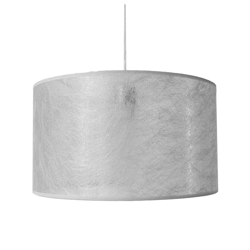 Lámpara de techo colgante, armazón metálico en acabado níquel satinado, 1 luz, con pantalla cilíndrica Ø 35 cm