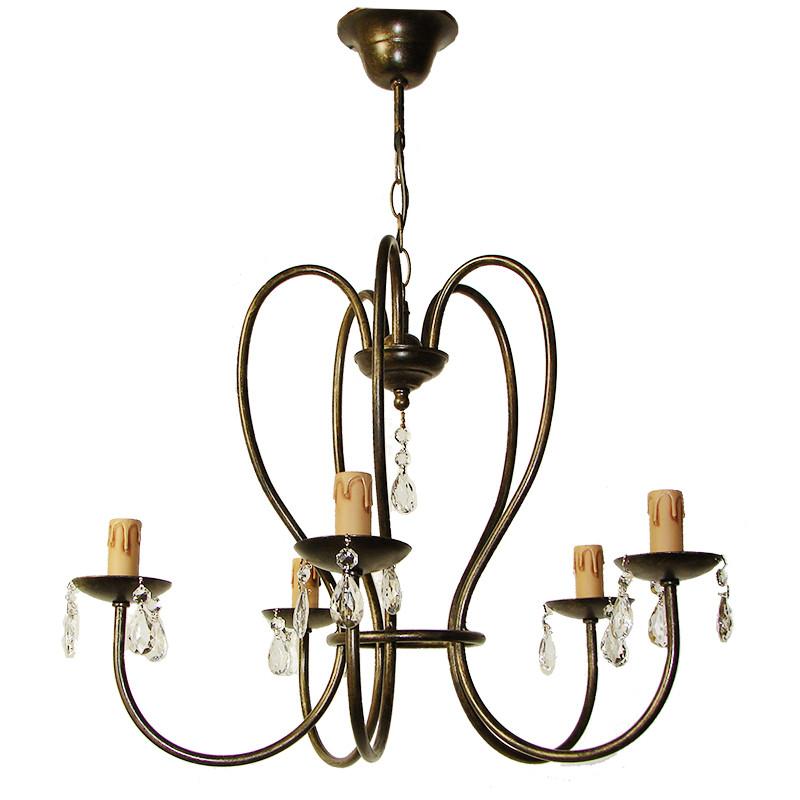 Lámpara de techo, de forja, armazón metálico en varios acabados, con elementos decorativos de cristal, 5 luces