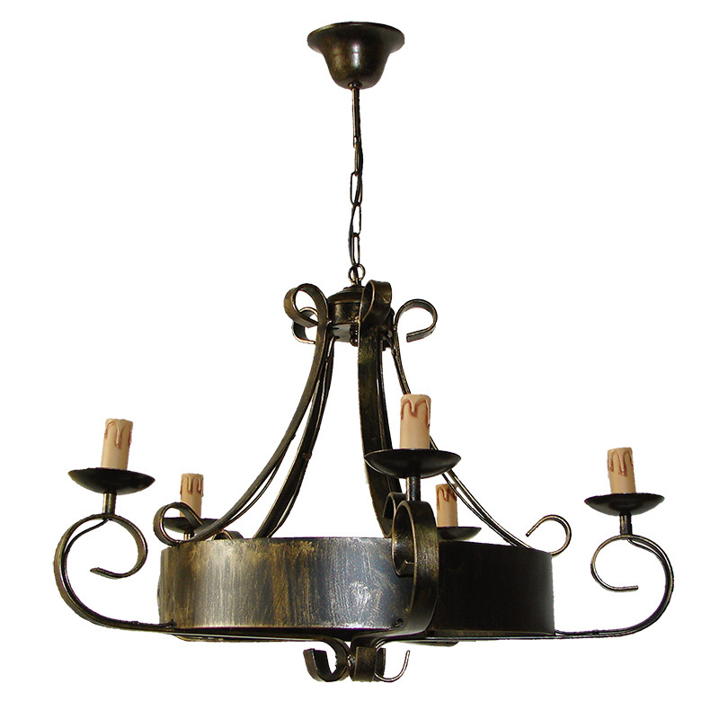 Lámpara de techo, de forja, armazón metálico en varios acabados, 4 luces, con vela.