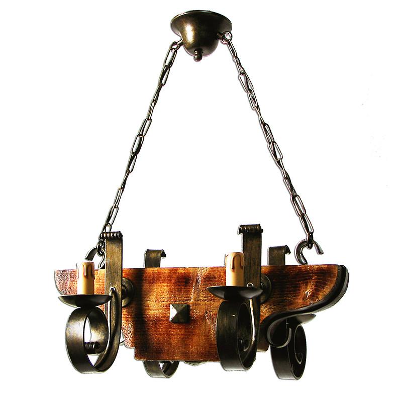 Lámpara de techo, estructura metálica en varios acabado, con madera, 4 luces, con vela.