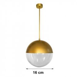 Lámpara de techo colgante, armazón metálico de latón en acabado satinado, 1 luz, con difusor de vidrio soplado en bola Ø 16 cm