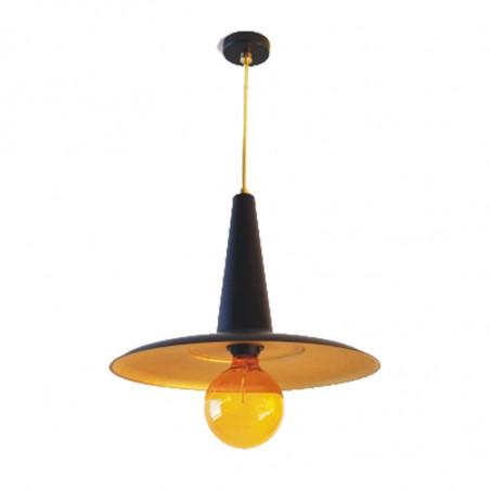 Lámpara de techo colgante, estructura metálica en acabado negro, con elementos de latón en acabado satinado, 1 luz