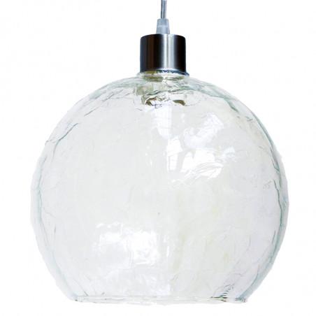 Lámpara de techo Colgante, armazón metálico en acabado níquel satinado, con cable transparente, 1 luz.