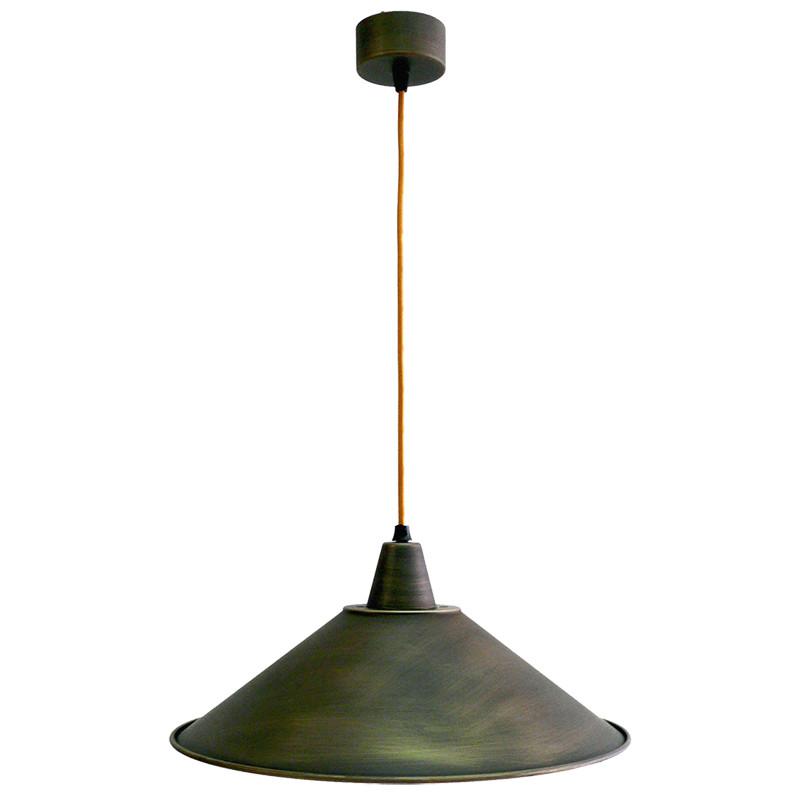 Lámpara de techo colgante, estilo retro, armazón metálico en varios acabados, con cable de plancha marrón, 1 luz.