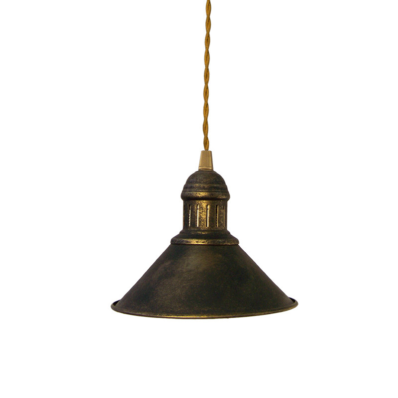Lámpara de techo colgante estilo retro, armazón metálico en varios acabados, con cable trenzado marrón, 1 luz.