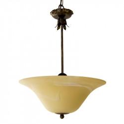 Lámpara de techo colgante, de forja, armazón metálico en varios acabados, 3 luces, con cristal Ø 35 cm en acabado marfil.
