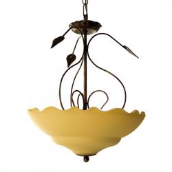 Lámpara de techo colgante, de forja, metal en varios acabados, con cristal Ø 35 cm Serie Ronda en acabado marfil.