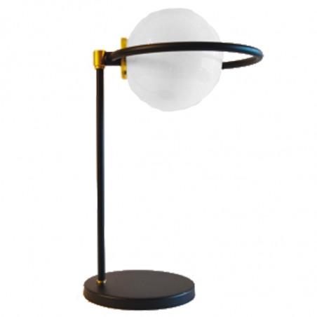 Lámpara de sobremesa, estilo retro, armazón metálico en varios acabados, con elementos de latón en acabado satinado, 1 luz.
